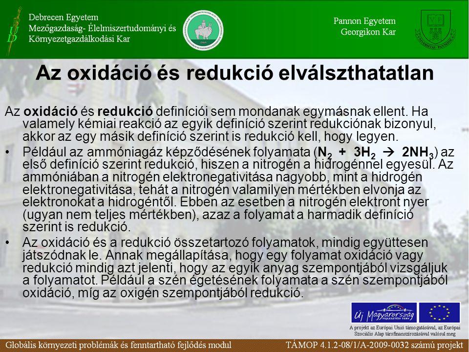 Az oxidáció és redukció elválszthatatlan