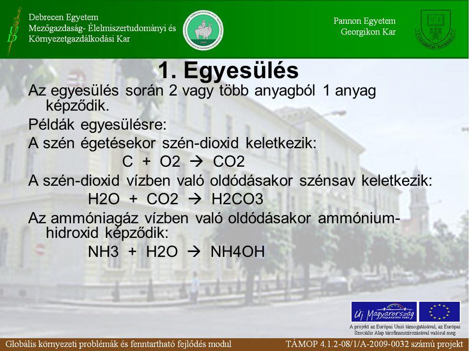 1. Egyesülés Az egyesülés során 2 vagy több anyagból 1 anyag képződik.