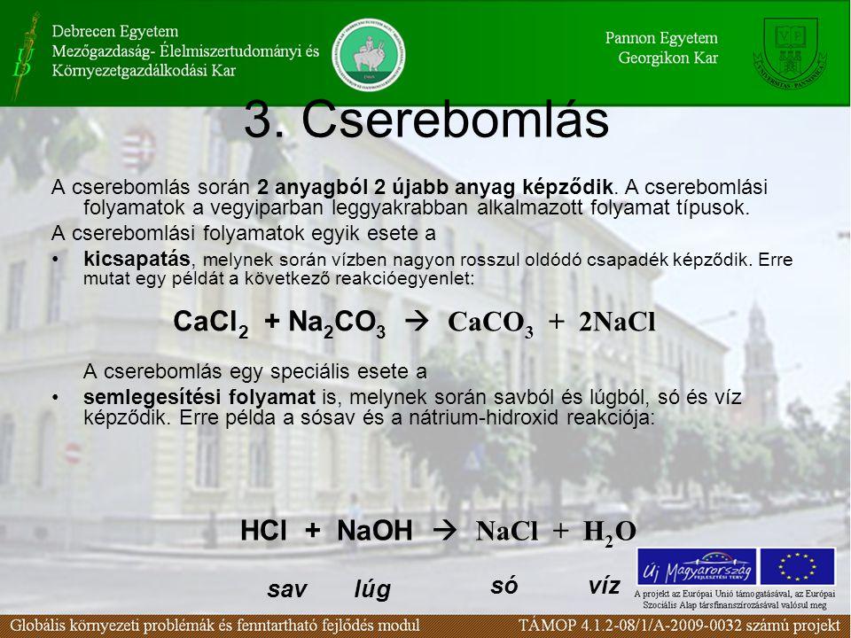 3. Cserebomlás CaCl2 + Na2CO3  CaCO3 + 2NaCl HCl + NaOH  NaCl + H2O