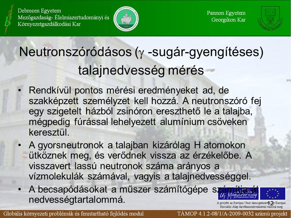Neutronszóródásos (g -sugár-gyengítéses) talajnedvesség mérés