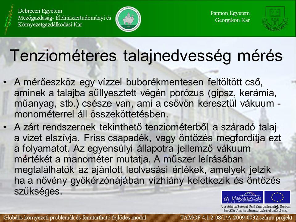 Tenziométeres talajnedvesség mérés