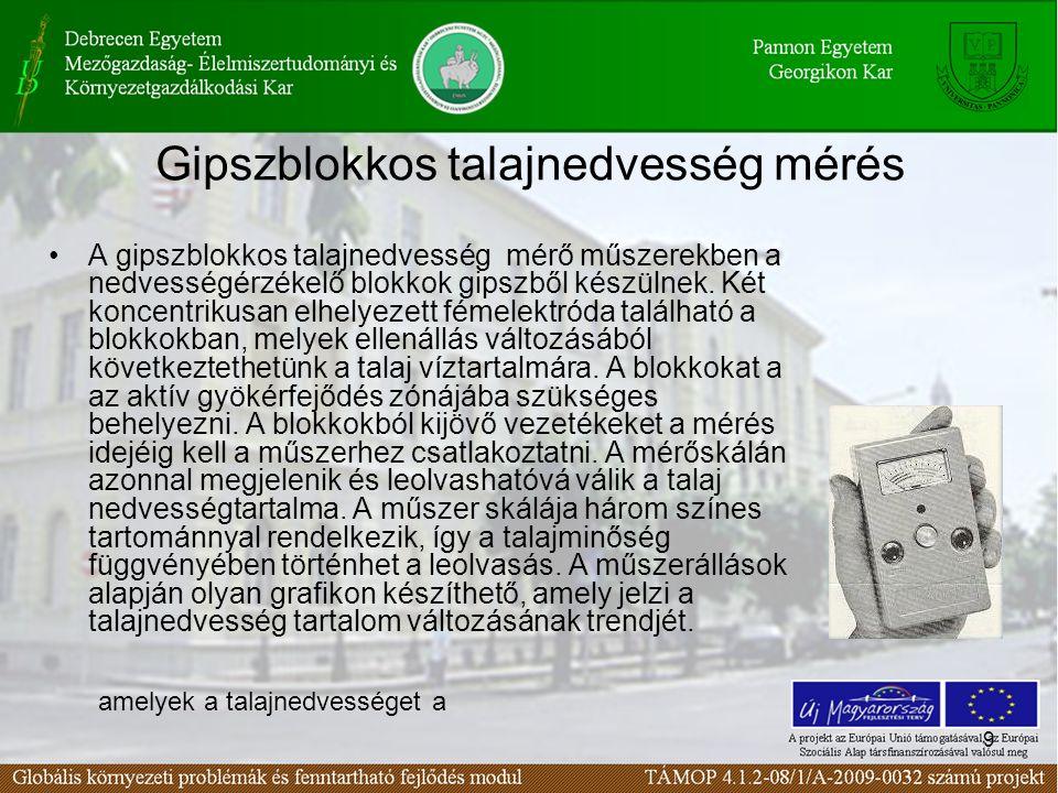 Gipszblokkos talajnedvesség mérés