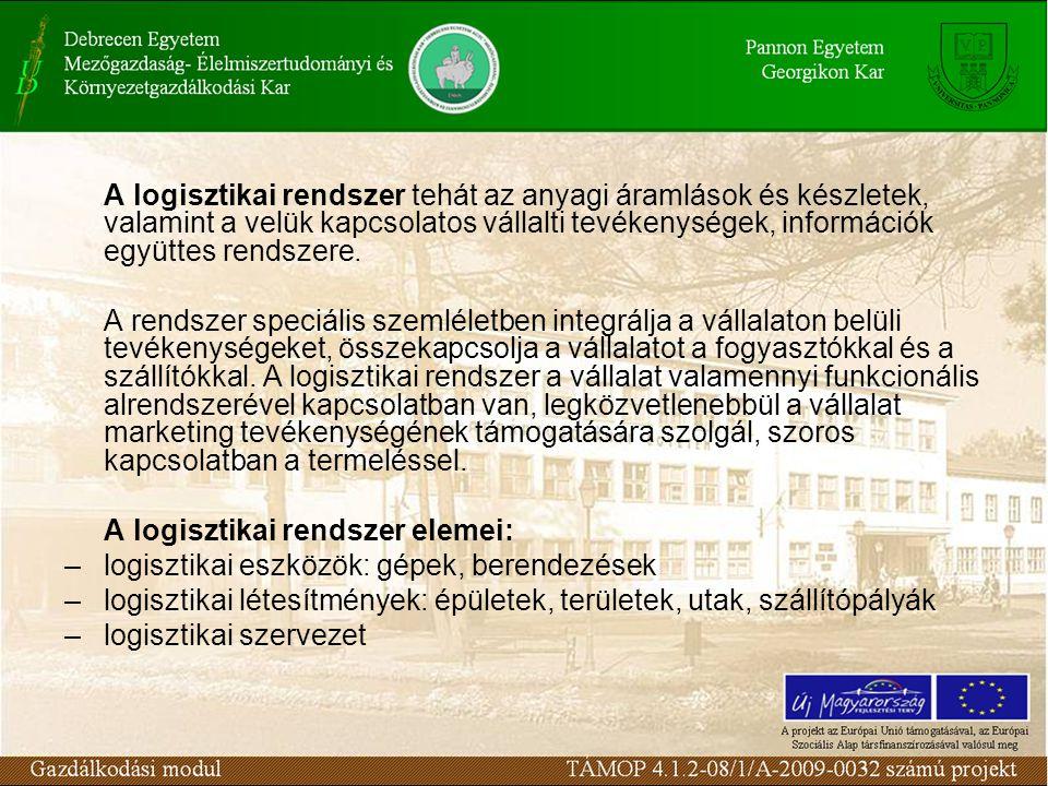 A logisztikai rendszer tehát az anyagi áramlások és készletek, valamint a velük kapcsolatos vállalti tevékenységek, információk együttes rendszere.