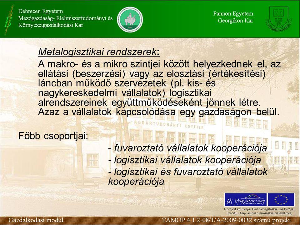 Metalogisztikai rendszerek: