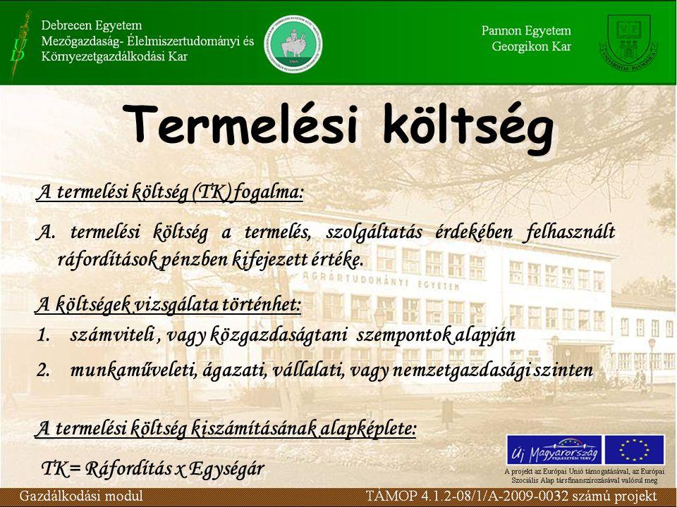 Termelési költség A termelési költség (TK) fogalma: