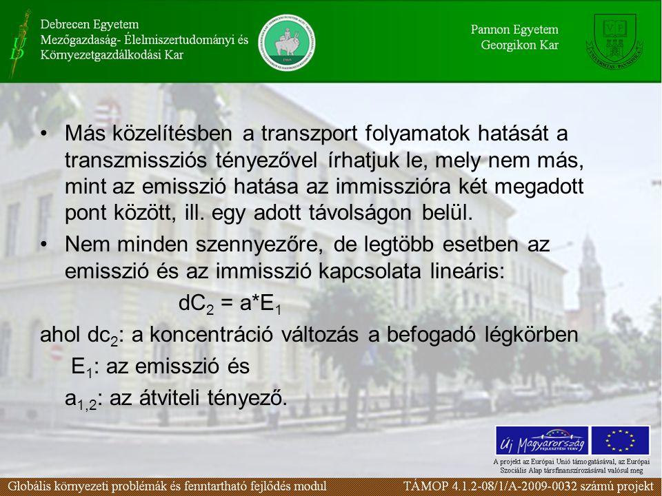 Más közelítésben a transzport folyamatok hatását a transzmissziós tényezővel írhatjuk le, mely nem más, mint az emisszió hatása az immisszióra két megadott pont között, ill. egy adott távolságon belül.