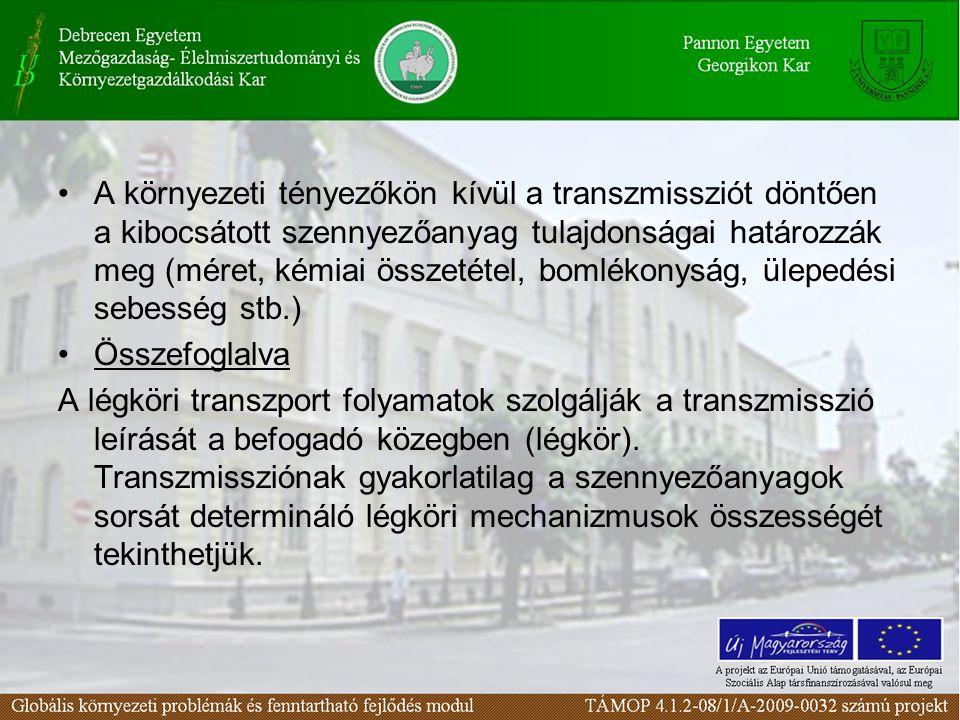 A környezeti tényezőkön kívül a transzmissziót döntően a kibocsátott szennyezőanyag tulajdonságai határozzák meg (méret, kémiai összetétel, bomlékonyság, ülepedési sebesség stb.)