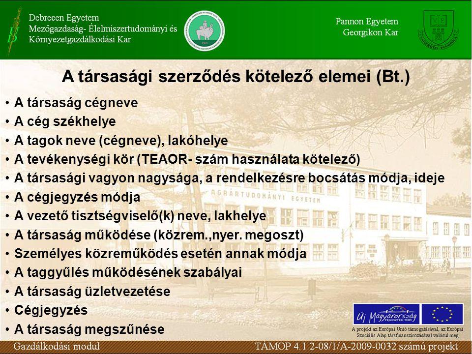 A társasági szerződés kötelező elemei (Bt.)