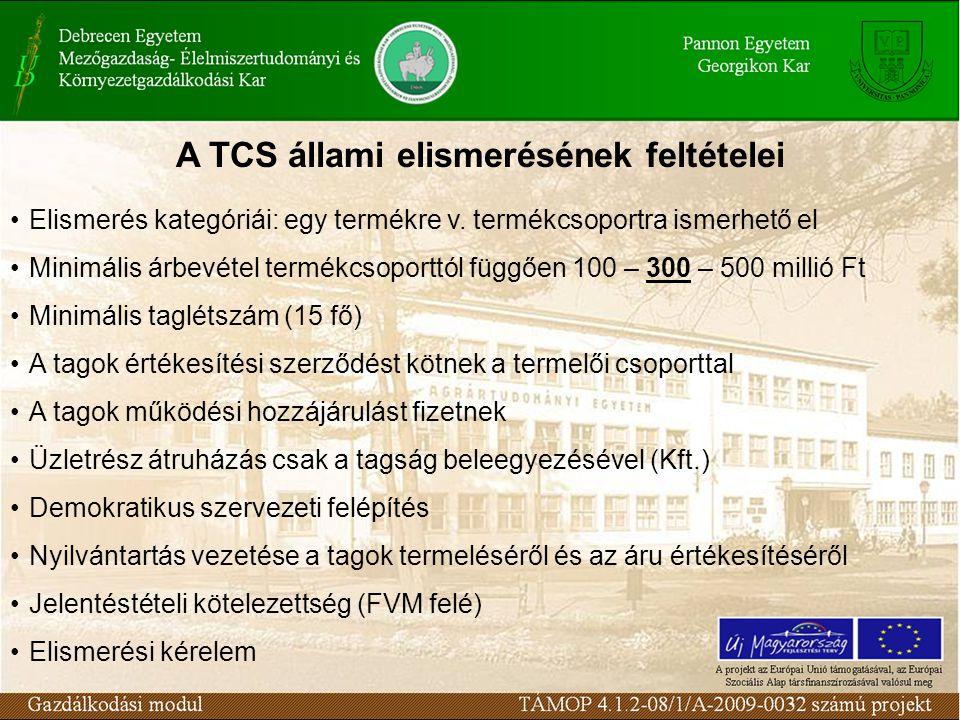 A TCS állami elismerésének feltételei