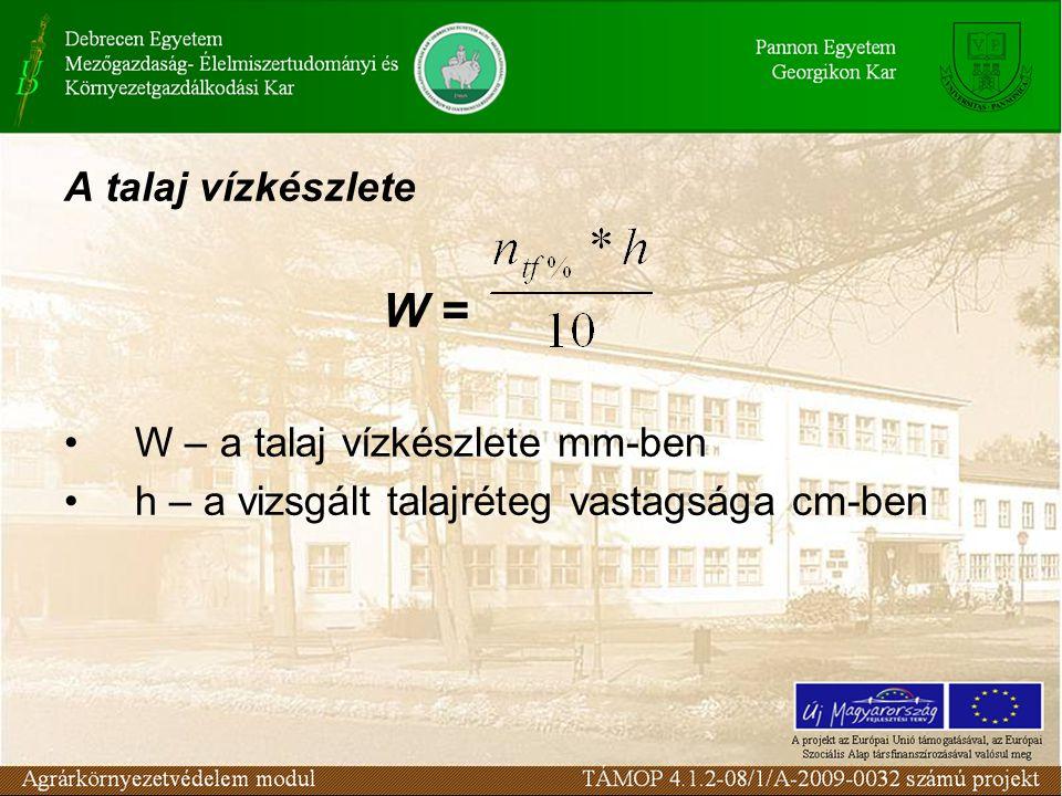 W = A talaj vízkészlete W – a talaj vízkészlete mm-ben