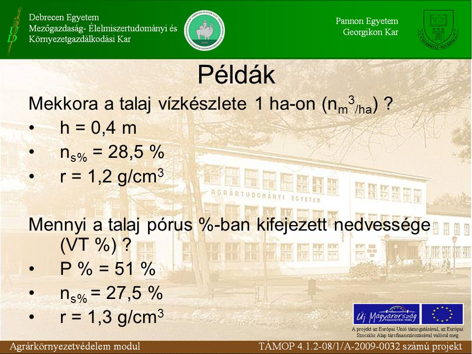 Példák Mekkora a talaj vízkészlete 1 ha-on (nm3/ha) h = 0,4 m