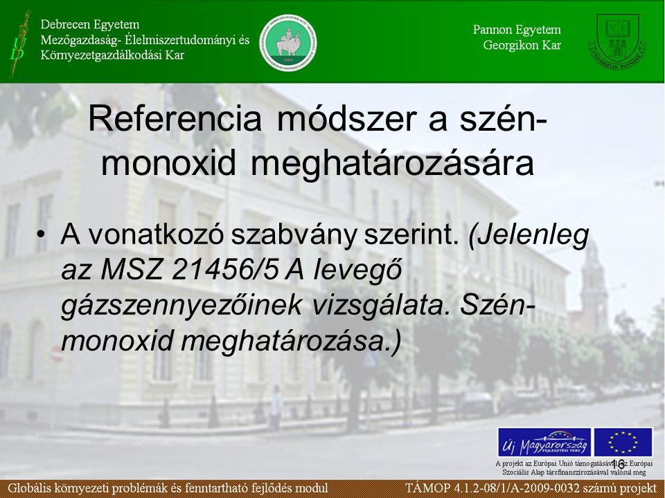 Referencia módszer a szén-monoxid meghatározására