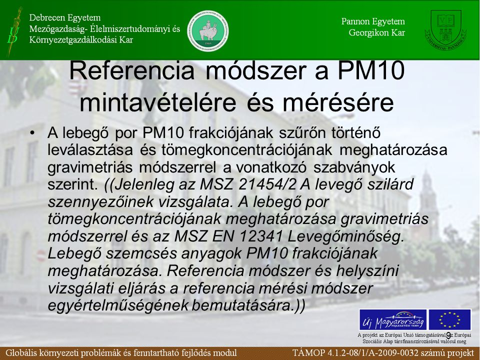 Referencia módszer a PM10 mintavételére és mérésére