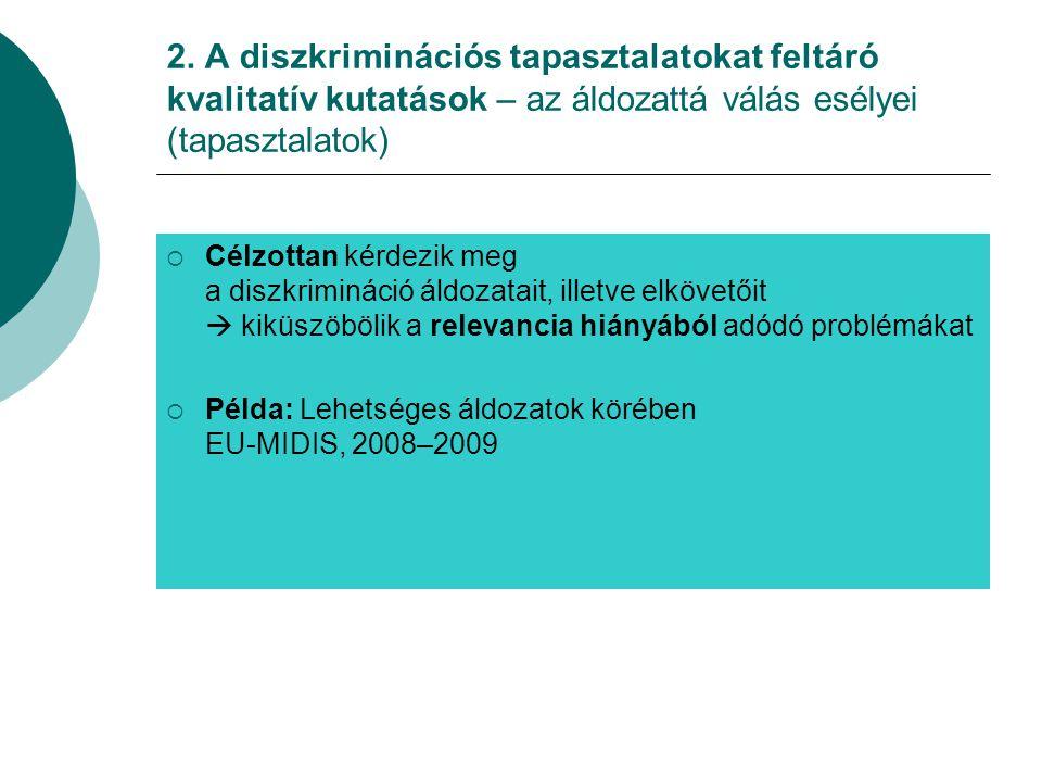 2. A diszkriminációs tapasztalatokat feltáró kvalitatív kutatások – az áldozattá válás esélyei (tapasztalatok)