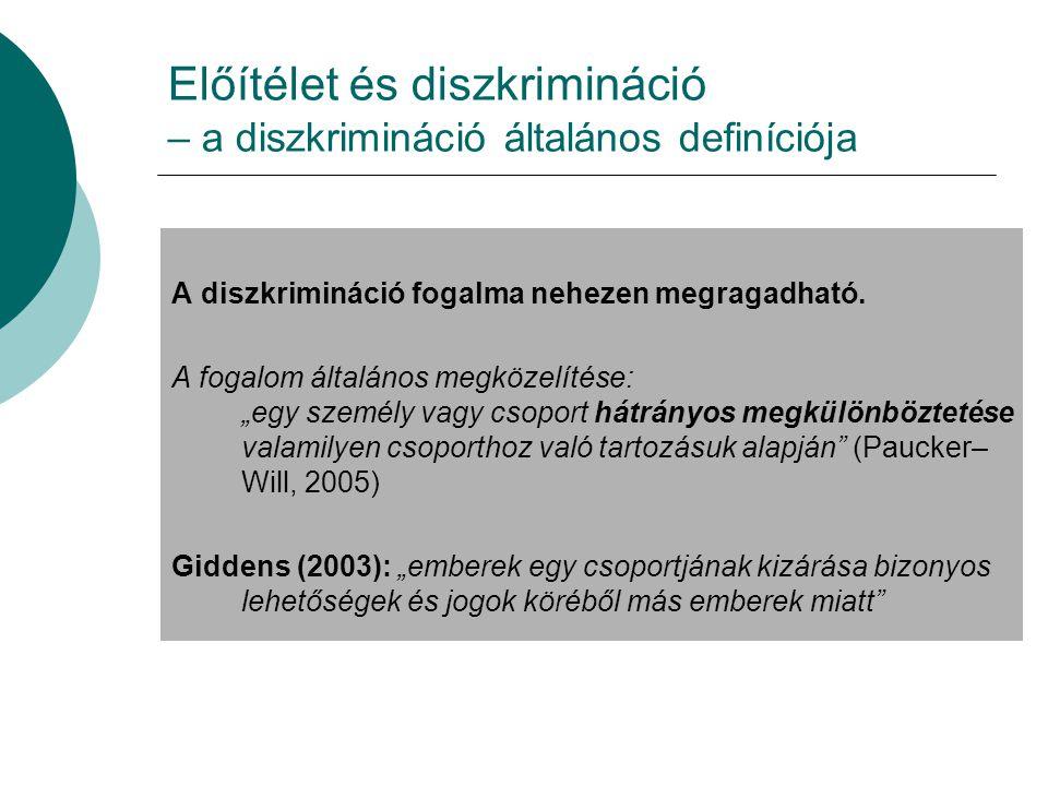 Előítélet és diszkrimináció – a diszkrimináció általános definíciója