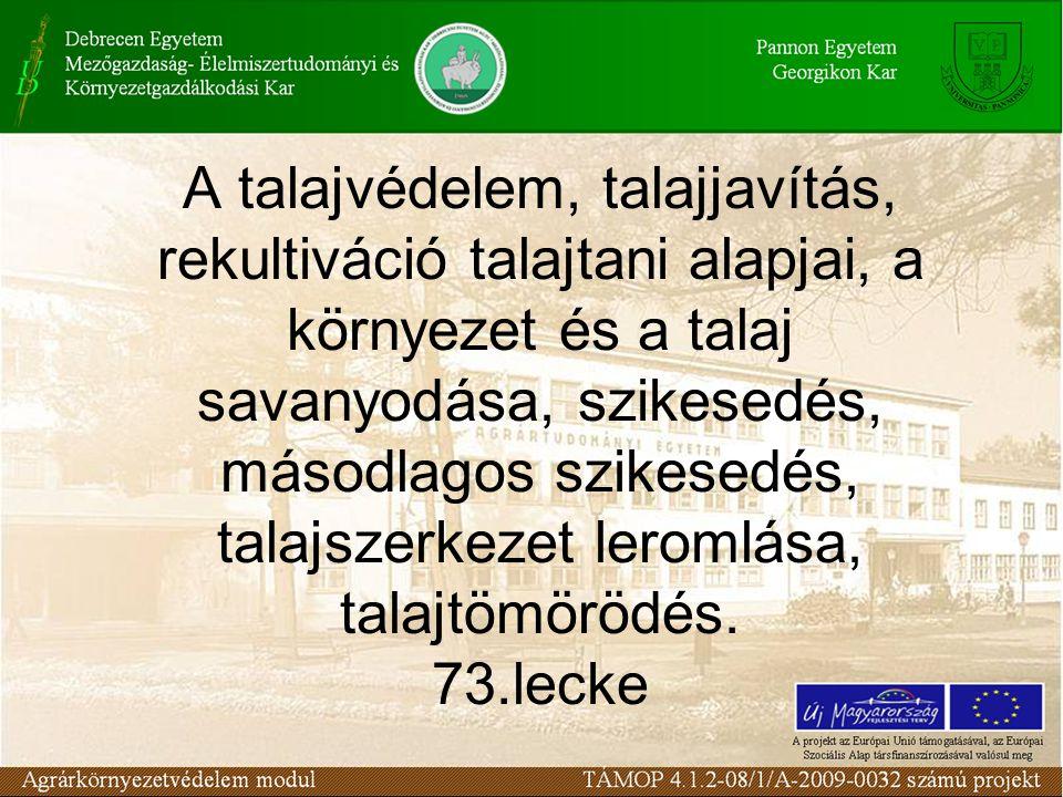 A talajvédelem, talajjavítás, rekultiváció talajtani alapjai, a környezet és a talaj savanyodása, szikesedés, másodlagos szikesedés, talajszerkezet leromlása, talajtömörödés.