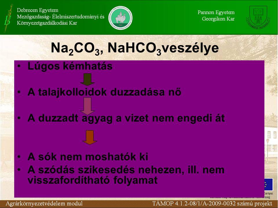 Na2CO3, NaHCO3veszélye Lúgos kémhatás A talajkolloidok duzzadása nő