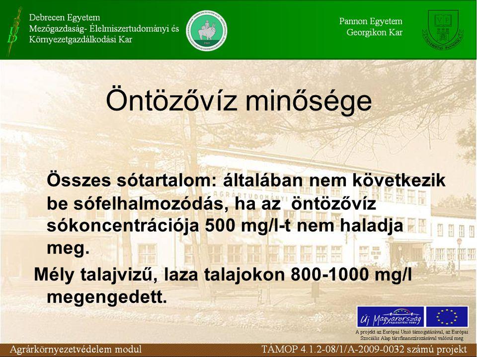 Öntözővíz minősége Összes sótartalom: általában nem következik be sófelhalmozódás, ha az öntözővíz sókoncentrációja 500 mg/l-t nem haladja meg.