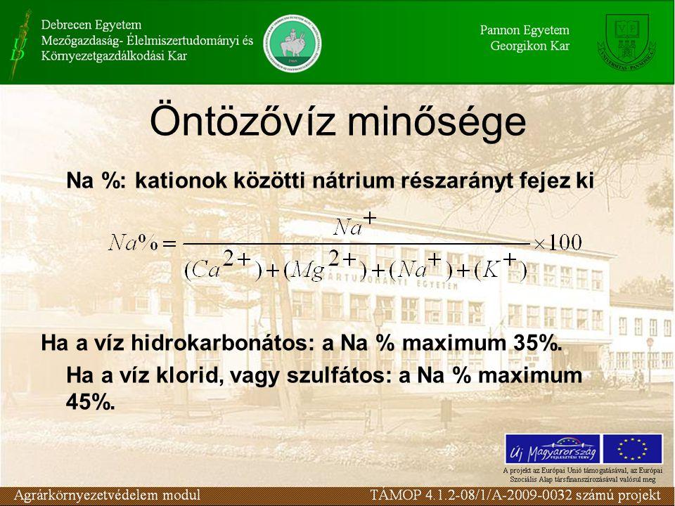 Öntözővíz minősége Na %: kationok közötti nátrium részarányt fejez ki