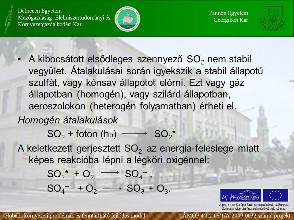 A kibocsátott elsődleges szennyező SO2 nem stabil vegyület
