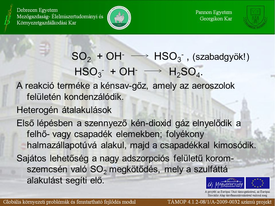 HSO3- + OH- H2SO4. SO2 + OH- HSO3- , (szabadgyök!)