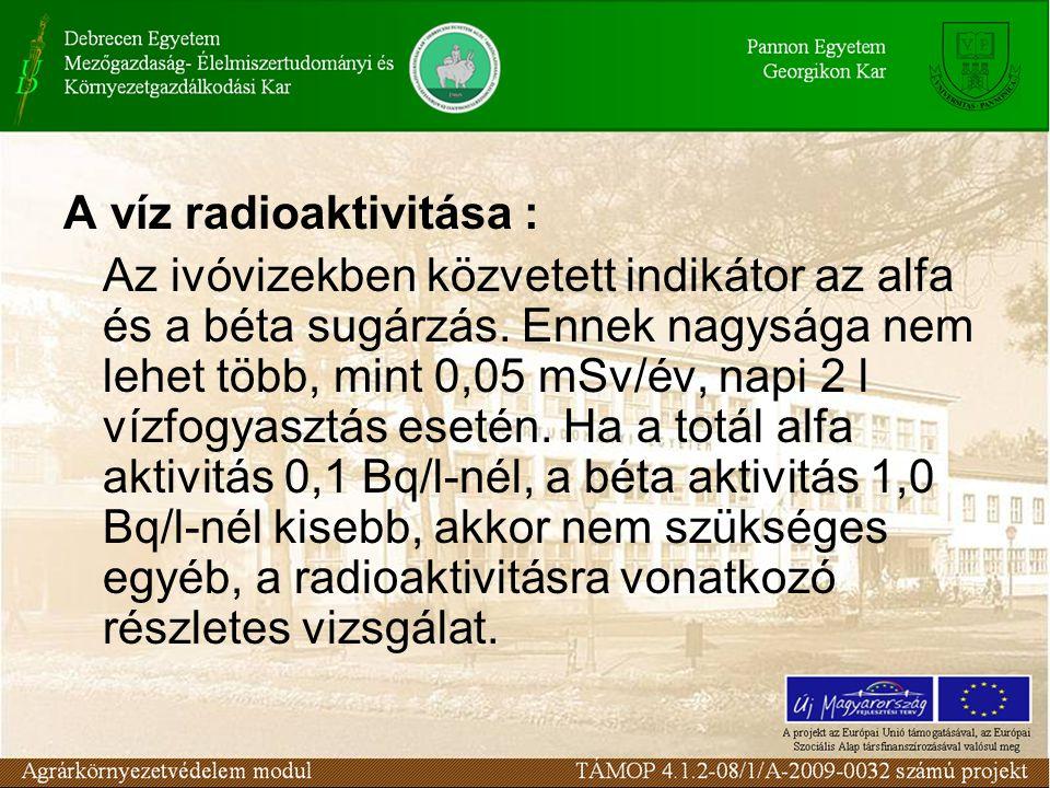 A víz radioaktivitása :