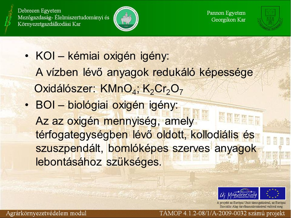 KOI – kémiai oxigén igény: