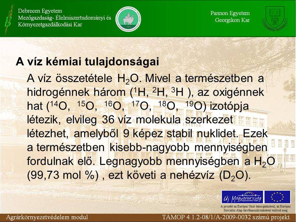 A víz kémiai tulajdonságai