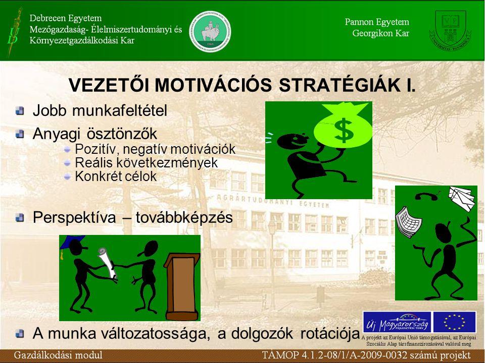 VEZETŐI MOTIVÁCIÓS STRATÉGIÁK I.