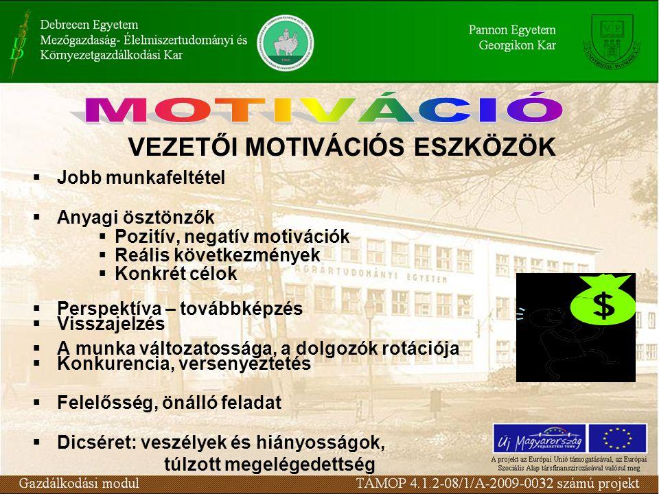 VEZETŐI MOTIVÁCIÓS ESZKÖZÖK