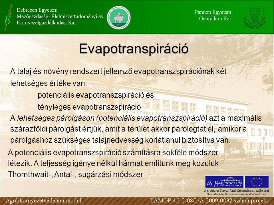 Evapotranspiráció A talaj és növény rendszert jellemző evapotranszspirációnak két lehetséges értéke van: