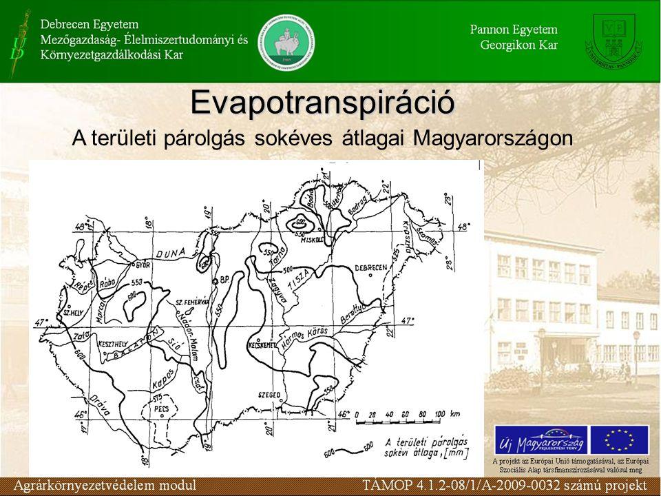 A területi párolgás sokéves átlagai Magyarországon