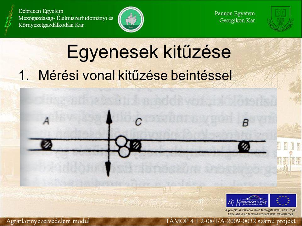 Egyenesek kitűzése Mérési vonal kitűzése beintéssel