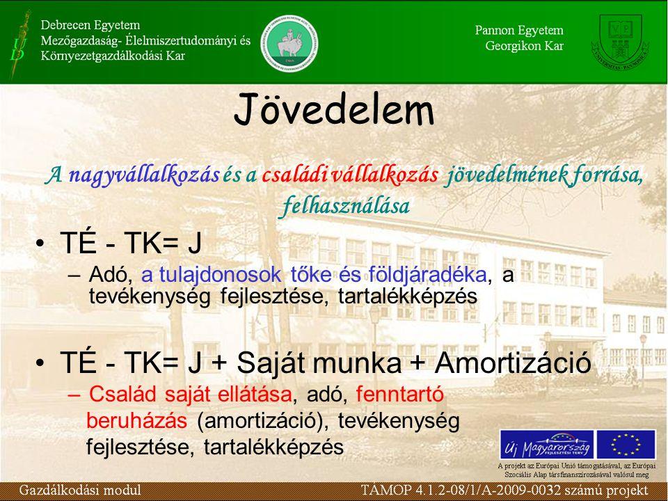 Jövedelem TÉ - TK= J TÉ - TK= J + Saját munka + Amortizáció