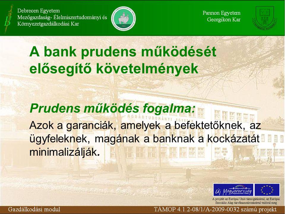 A bank prudens működését elősegítő követelmények