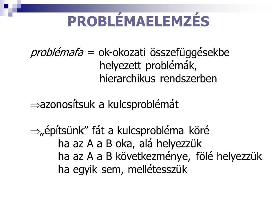 PROBLÉMAELEMZÉS problémafa = ok-okozati összefüggésekbe