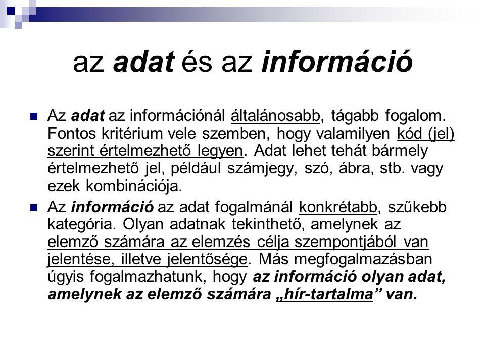 az adat és az információ