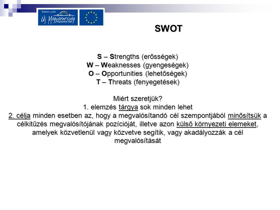 SWOT S – Strengths (erősségek) W – Weaknesses (gyengeségek)