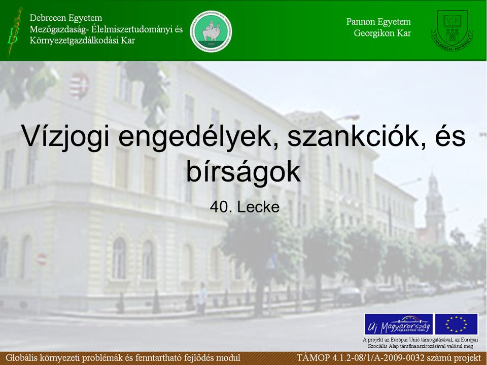 Vízjogi engedélyek, szankciók, és bírságok