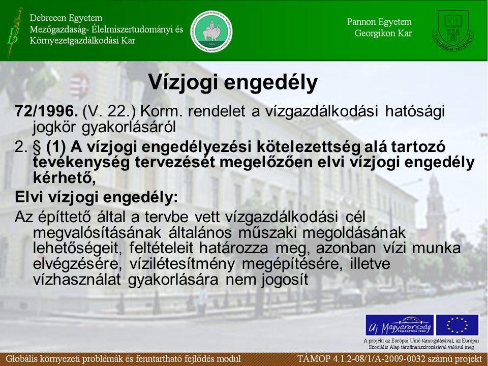 Vízjogi engedély 72/1996. (V. 22.) Korm. rendelet a vízgazdálkodási hatósági jogkör gyakorlásáról.