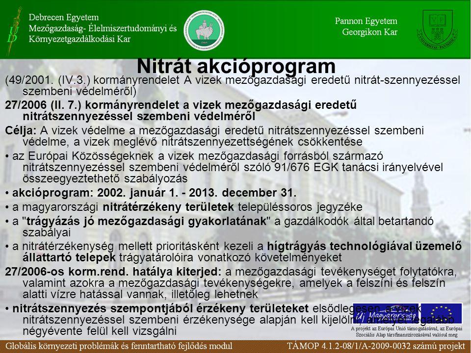 Nitrát akcióprogram (49/2001. (IV.3.) kormányrendelet A vizek mezőgazdasági eredetű nitrát-szennyezéssel szembeni védelméről)