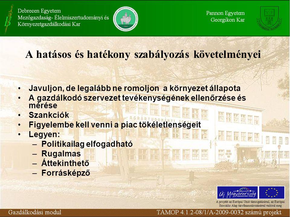 A hatásos és hatékony szabályozás követelményei