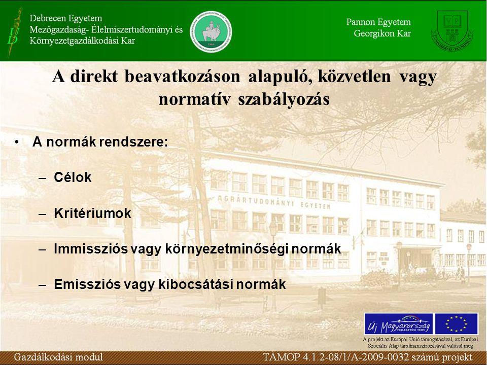 A direkt beavatkozáson alapuló, közvetlen vagy normatív szabályozás