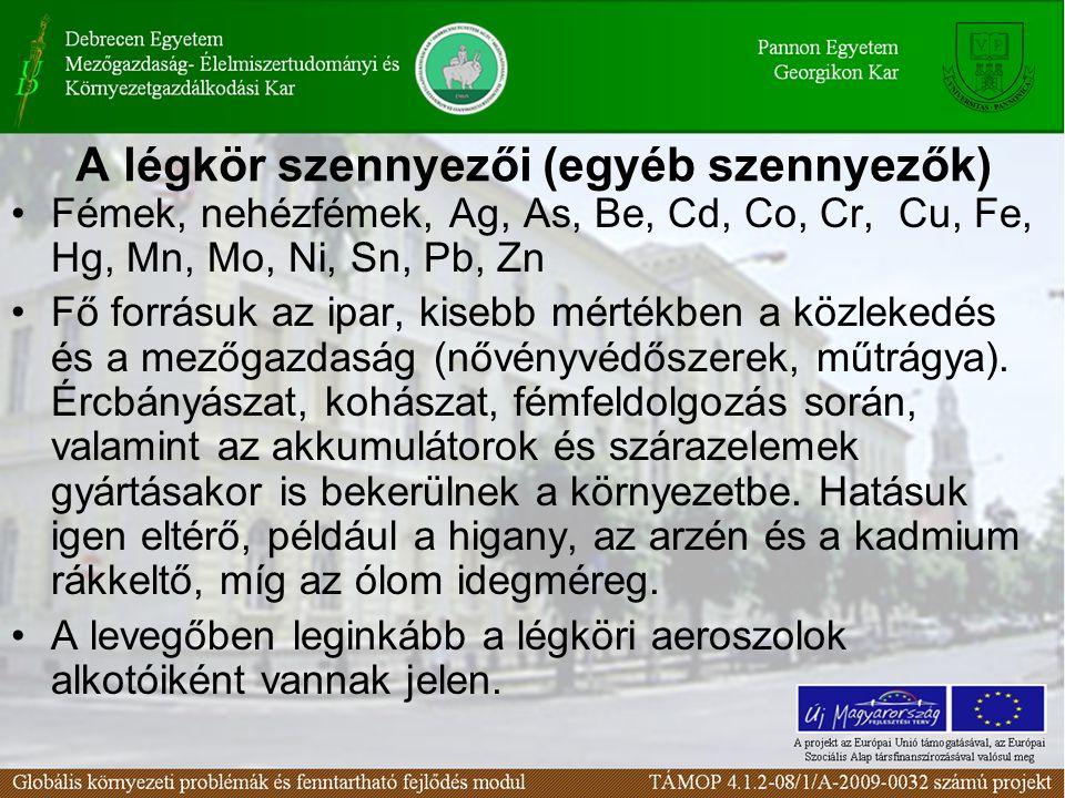 A légkör szennyezői (egyéb szennyezők)