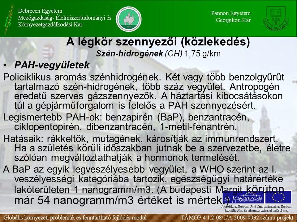 A légkör szennyezői (közlekedés) Szén-hidrogének (CH) 1,75 g/km