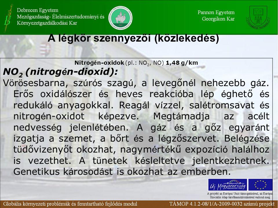 Nitrogén-oxidok (pl.: NO2, NO) 1,48 g/km
