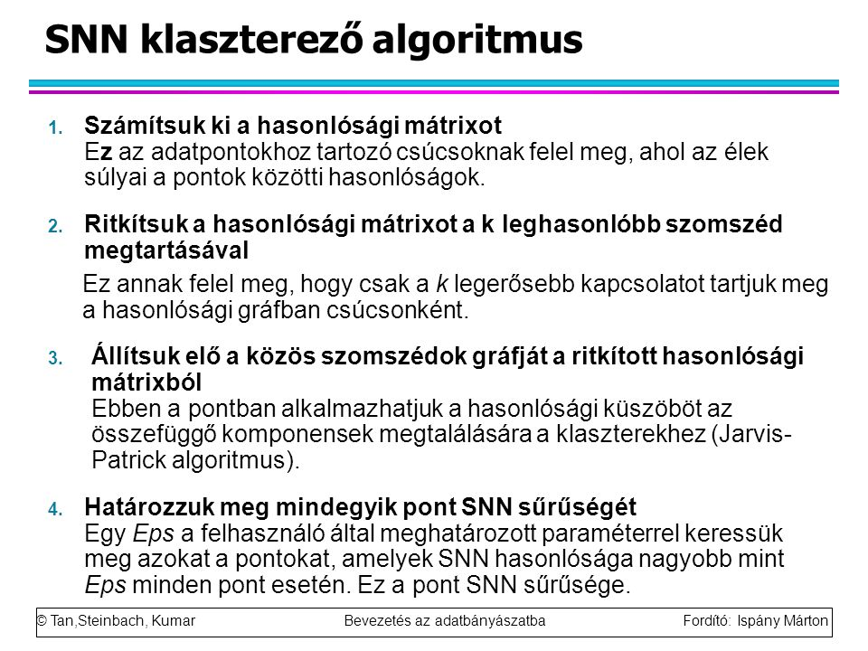 SNN klaszterező algoritmus