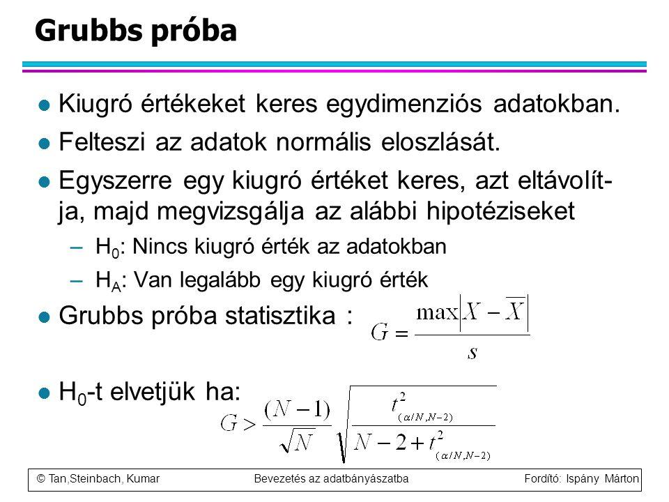 Grubbs próba Kiugró értékeket keres egydimenziós adatokban.
