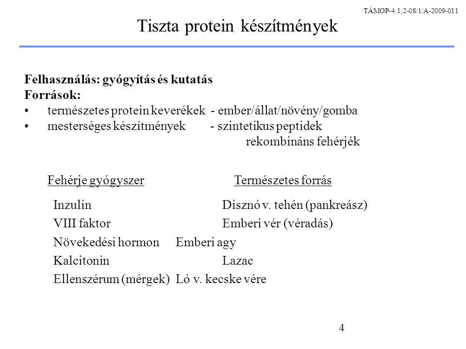 Tiszta protein készítmények