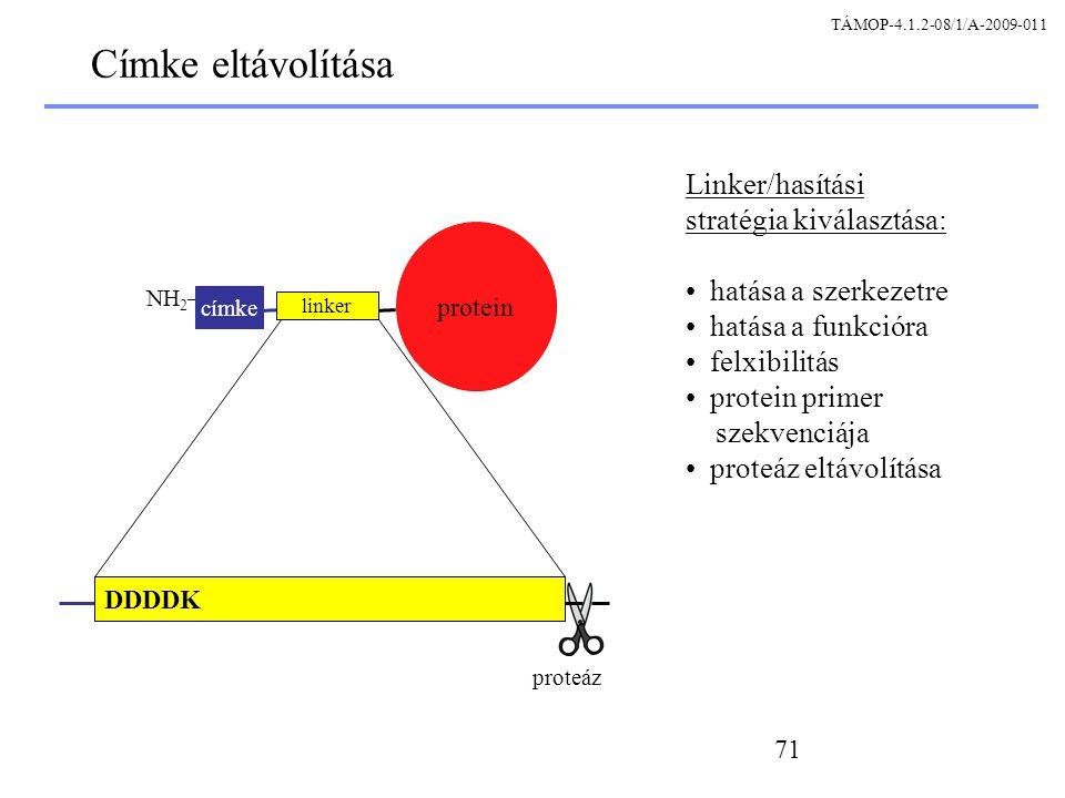 Címke eltávolítása Linker/hasítási stratégia kiválasztása: